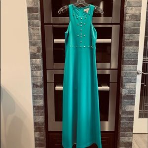 Badgley Mischka Green Maxi Dress Gold Stud Detail